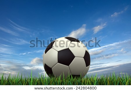 3d render of soccer ball over grass on sky background - stock photo