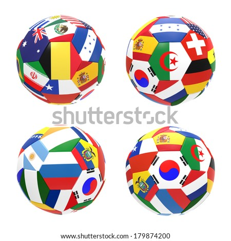 3D render of 4 soccer football representing competition group H on 2014 FIFA world cup on white background - stock photo