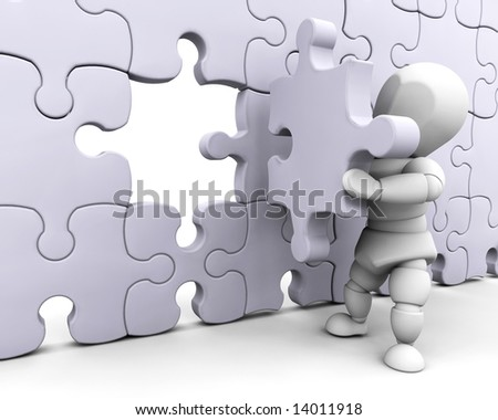 3D render of someone fitting a final piece of a jigsaw