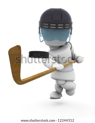 3D render of someone playing ice-hockey