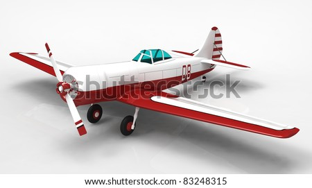 3d render of  sports plane on a reflecting surface - stock photo