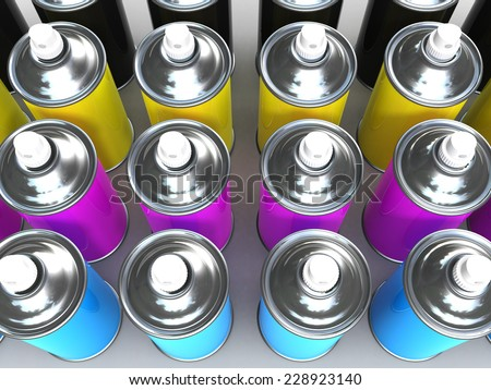 3d render of spray paint cans in CMYK colors - stock photo