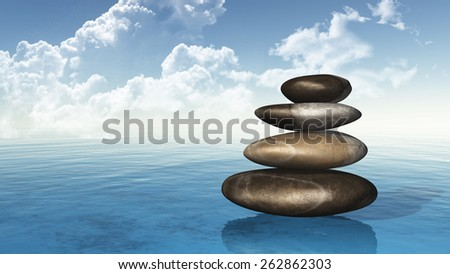 3D render of stack of pebbles on the sea