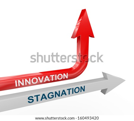3d render of stagnation and changing upward innovation arrow. Concept of change, innovation, creativity, out of box thinking. - stock photo