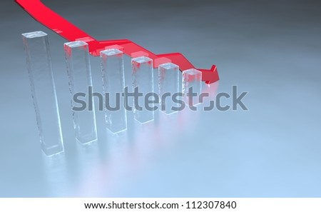 3D render of stock market bar chart in ice with red down pointing arrow - stock photo
