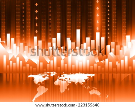 3d render of Stock Market chart. Business graph with world map  - stock photo
