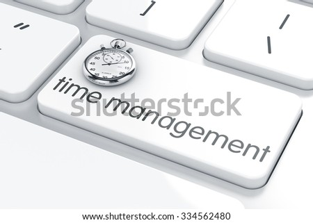 3d render of stopwatch clock on the keyboard. Time management concept - stock photo