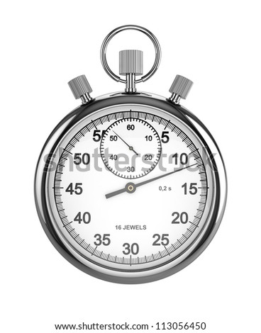 3d render of stopwatch isolated on white background - stock photo