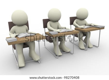 3d render of student in class room - stock photo