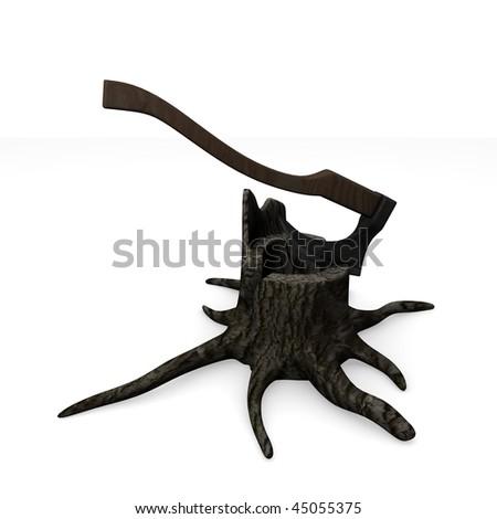 3d render of stump + axe - stock photo