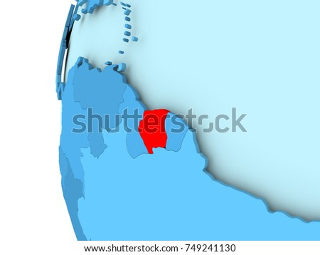 3d Render Suriname Red On Blue Stock Illustration 749241130