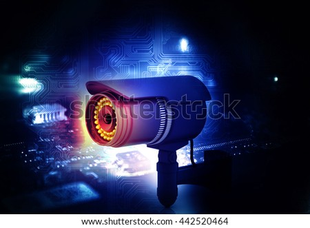 3d render of Surveillance camera . technology background	 - stock photo