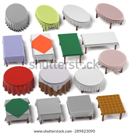 3d render of tablecloth on tables - stock photo