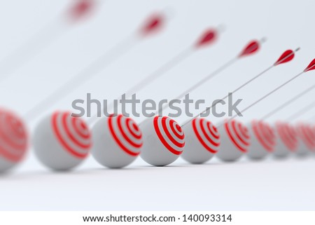 3d render of target and arrows row with soft focus - stock photo