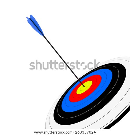 3d render of target with arrow isolated on white background - stock photo