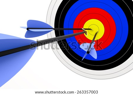 3d render of target with arrows isolated on white background