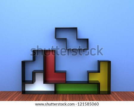 3d render of Tetris Shelf Unit - stock photo