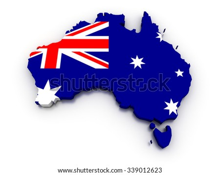 3D render of the Australian map in the colors of its flag.