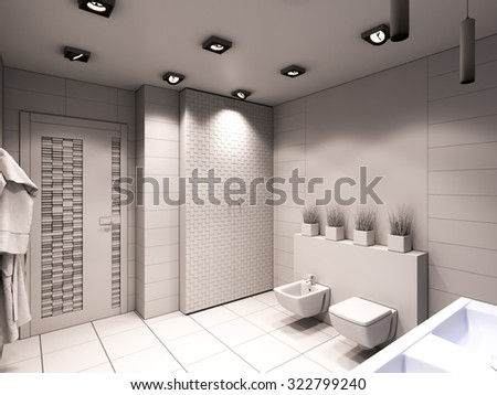 3D render of the bathroom without color and textures