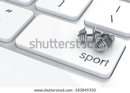 3d render of the dumbbells icon on the keyboard. Health life concept  - stock photo