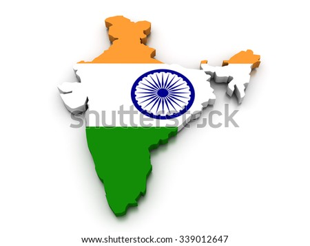 3D render of the Indian map in the colors of its flag.