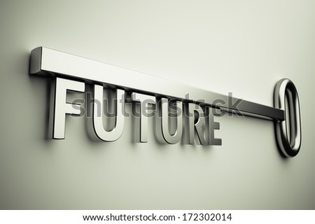 3d render of the key with future text - stock photo
