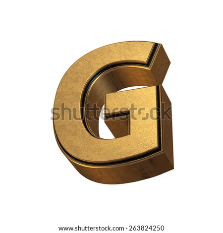 3d render of the letter G in gold metal on a white isolated background. - stock photo