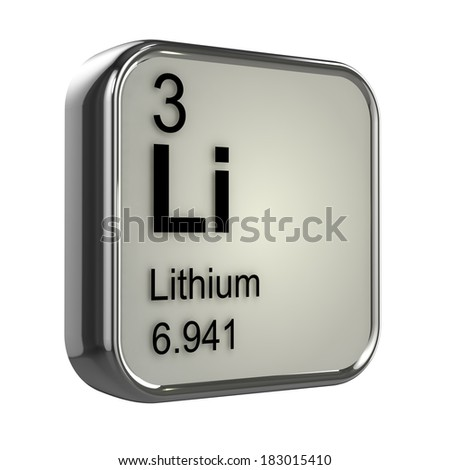 3d render of the lithium element from the periodic table - stock photo