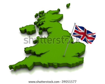 3D render of the map of the United Kingdom and the british national flag - stock photo
