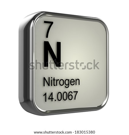 3d render of the nitrogen element from the periodic table - stock photo