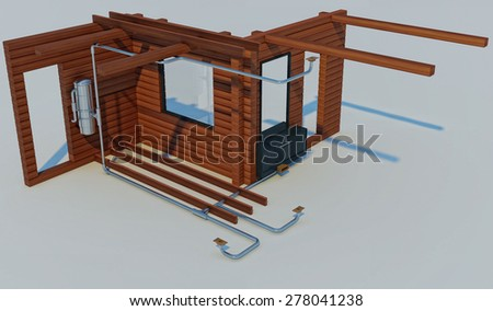 3D render of the scheme of the device of the built-in vacuum cleaner - stock photo
