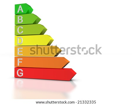3D render of the seven levels of energetic efficiency.