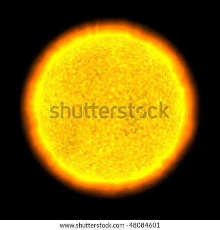 3D render of the Sun / A yellow star.