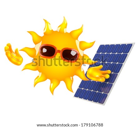 3d render of the sun next to a solar panel - stock photo