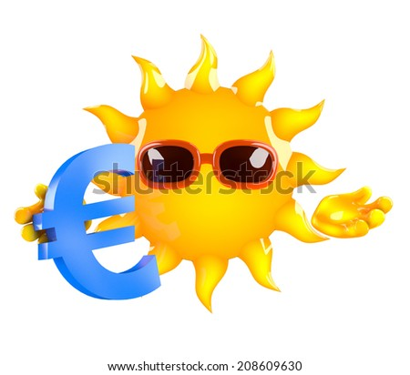 3d render of the sun with a Euro currency symbol - stock photo