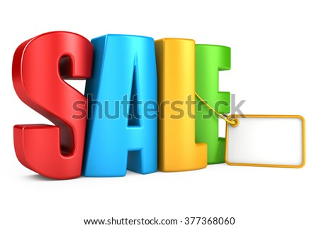 3d render of the text SALE. text isolated on a white background - stock photo