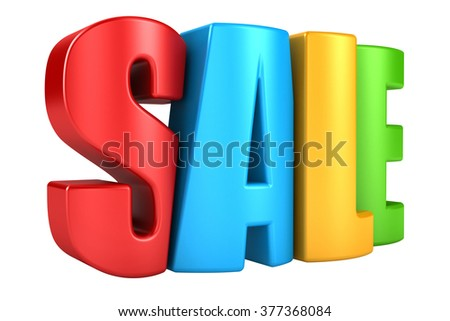 3d render of the text SALE. text isolated on a white background