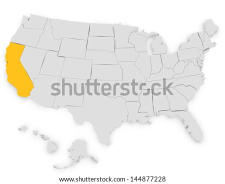 3d Render of the United States Highlighting California - stock photo