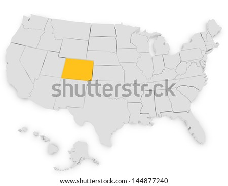 3d Render of the United States Highlighting Colorado - stock photo
