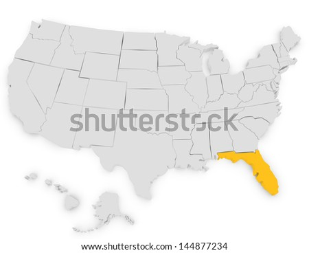 3d Render of the United States Highlighting Florida - stock photo