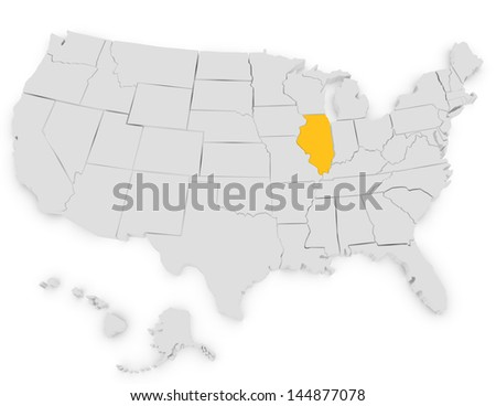 3d Render of the United States Highlighting Illinois - stock photo