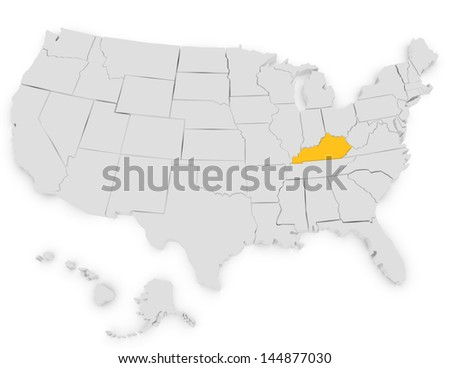 3d Render of the United States Highlighting Kentucky