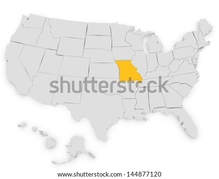 3d Render of the United States Highlighting Missouri