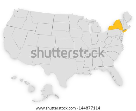 3d Render of the United States Highlighting New York - stock photo