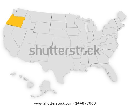 3d Render of the United States Highlighting Oregon