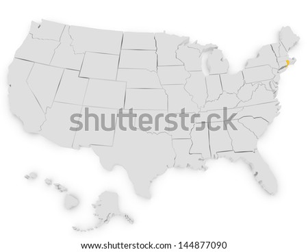 3d Render of the United States Highlighting Rhode Island - stock photo