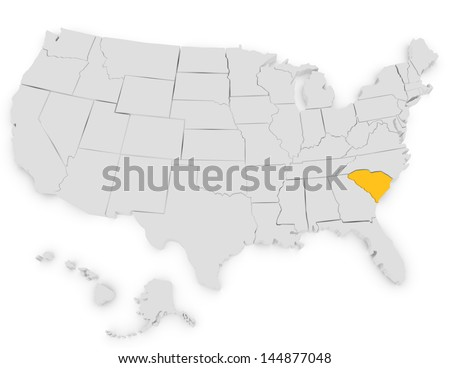 3d Render of the United States Highlighting South Carolina