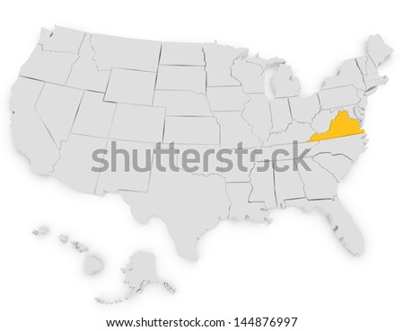 3d Render of the United States Highlighting Virginia