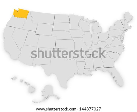 3d Render of the United States Highlighting Washington