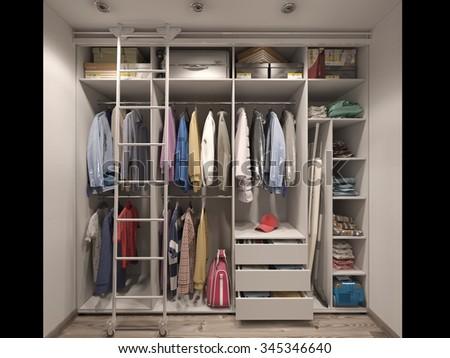 3D render of the wardrobe room in light tones - stock photo